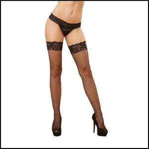Fishnet Thigh High Stockings - Black