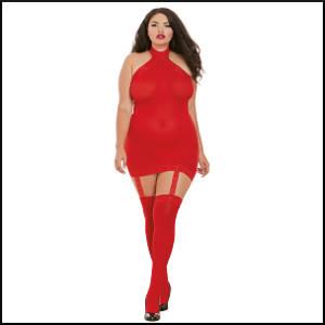 Opaque Garter Dress - Red